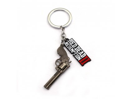 New Game Red Dead Redemption 2 Keychain Metal Key Ring Chain 3D Gun For Men Car 1