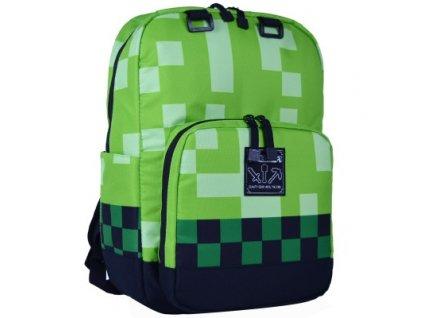 1 Kids Creeper Green Minecrafting Backpacks Factory Directly Children Schoolbag Boy Girls Zip Green Creeper Backpacks Travel